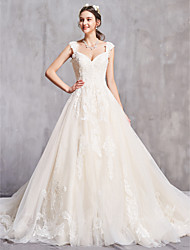 cheap -A-Line Off Shoulder Chapel Train Tulle Short Sleeve Sexy Wedding Dresses with Beading / Embroidery 2020