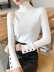 cheap -Women's Solid Colored Long Sleeve Pullover Sweater Jumper, Turtleneck Black / White / Red One-Size