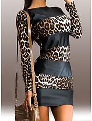 cheap -Women's Basic Mini Slim Bodycon Dress - Leopard Print Black S M L XL