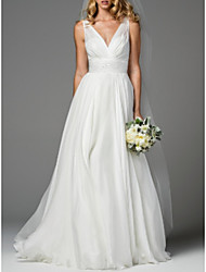 cheap -A-Line V Neck Sweep / Brush Train Chiffon Regular Straps Simple / Casual Backless Wedding Dresses with Draping 2020