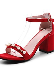 cheap -Women's Sandals Chunky Heel Open Toe Imitation Pearl / Buckle Faux Leather Casual / Sweet Walking Shoes Summer / Spring & Summer Black / Red