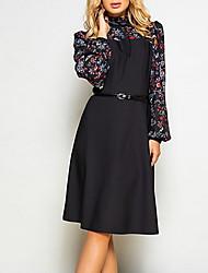 cheap -Women's Black Dress Vintage A Line Color Block Print S M
