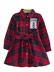 cheap -Kids Toddler Girls' Basic Street chic Plaid Lace up Embroidered Long Sleeve Dress Blue / Cotton
