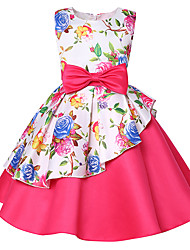 cheap -A-Line Knee Length Party / Pageant Flower Girl Dresses - Polyester / Polyester / Cotton Blend Sleeveless Jewel Neck with Belt / Ruffles / Pattern / Print