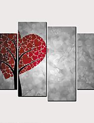 cheap -Print Rolled Canvas Prints - Hearts Classic Modern Four Panels Art Prints