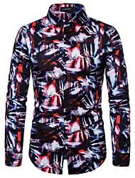 cheap -Men's Party Halloween Rock / Street chic Shirt - Rainbow / Abstract Black & Red / Black & White, Print Rainbow