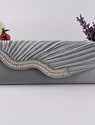 cheap -Women's Crystals Satin Clutch Solid Color Black / White / Almond