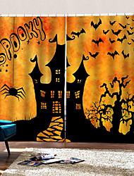 abordables -3d en trois dimensions personnalisé rideaux heureux halloween thème fantastique château rideau fond occultation 100% polyester rideau