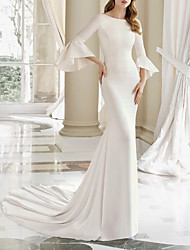 cheap -Mermaid / Trumpet Wedding Dresses Bateau Neck Court Train Satin 3/4 Length Sleeve with Draping 2021