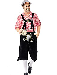 cheap -Oktoberfest Beer Outfits Lederhosen Men's Women's Blouse Pants Bavarian Costume Red / black Red+Brown Green / Black