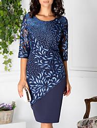 cheap -Women's Blue Dress Elegant Shift Geometric Lace Print M L