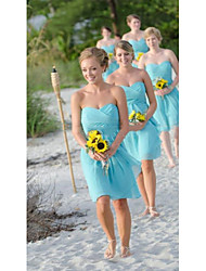 cheap -A-Line Strapless Short Length 30D Chiffon Bridesmaid Dress with Criss Cross / Ruching / Open Back