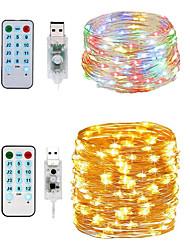 Недорогие -10м голосовые музыкальные струнные огни / 17 клавиш дистанционного управления 50 светодиодов теплый белый / белый водонепроницаемый / режущий / новый дизайн 8 режим USB рождественская ночь огни 5 В 2