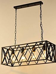 cheap -Industrial 4 Lights Metal Pendant Lighting Rectangular LED Chandeliers Black Kitchen Island Metal Pendant Light Iron Hanging Lighting Fixtures for Dining Hall