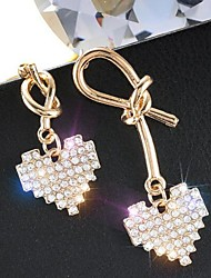 cheap -Women's Mismatch Earrings Mismatched Heart Imitation Diamond Earrings Jewelry Gold For Daily 1 Pair