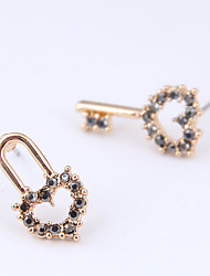 cheap -Women's Stud Earrings Earrings Mismatch Earrings Mismatched Keys Heart Simple Trendy Korean Sweet Fashion Imitation Diamond Earrings Jewelry White / Gray For Gift Daily Prom Holiday Work 1 Pair