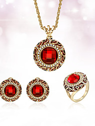 cheap -Women's Stud Earrings Pendant Necklace Ring 3D Unique Design Vintage Gold Plated Earrings Jewelry Red For Daily Work 1 set