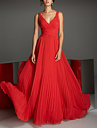 cheap -A-Line V Neck Floor Length Chiffon Empire / Red Engagement / Formal Evening Dress with Pleats 2020