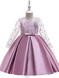 cheap -A-Line Knee Length Wedding / Birthday / Pageant Flower Girl Dresses - Cotton Blend Long Sleeve Jewel Neck with Petal / Sash / Ribbon / Embroidery