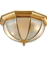 cheap -2-Light Ceiling Lamp American Country Chandeliers 2 Lights Ceiling Round Glass Shade Pendant Light Fixtures Flush Mount for Hallway Living Room Gold