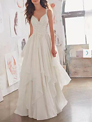 cheap -A-Line Wedding Dresses Sweetheart Neckline Sweep / Brush Train Chiffon Lace Spaghetti Strap Sexy See-Through Illusion Detail Backless with Beading Appliques 2021