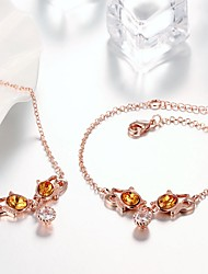 cheap -Women's Chain Bracelet Pendant Necklace Pendant Bracelet Classic Stylish Unique Design Rose Gold Plated Earrings Jewelry Gold For Daily Work 1 set