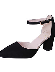 cheap -Women's Heels Chunky Heel Pointed Toe Classic Daily Office & Career Walking Shoes Suede Buckle Solid Colored Black Pink Brown / 2-3