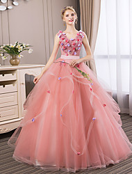 cheap -Ball Gown V Neck Floor Length Tulle Elegant Formal Evening Dress 2020 with Beading / Appliques / Pearls