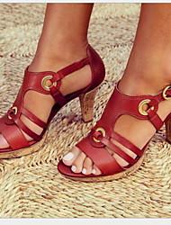cheap -Women's Sandals Stiletto Heel Round Toe Buckle PU Summer Black / Brown / Green