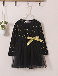 cheap -Kids Toddler Girls' Vintage Cute Geometric Bow Lace up Long Sleeve Above Knee Dress Black