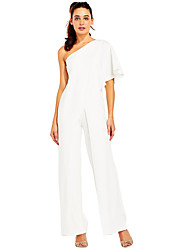 cheap -Women's Boho / Sophisticated One Shoulder Blushing Pink Royal Blue White Wide Leg Jumpsuit Onesie, Solid Colored Backless / Layered / Ruffle S M L / Patchwork