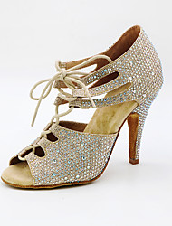 cheap -Women's Dance Shoes Synthetics Latin Shoes Crystals / Crystal / Rhinestone Heel Slim High Heel Customizable Gold / Silver / Performance / Leather / Practice