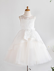 cheap -Princess Knee Length Wedding / First Communion / Birthday Flower Girl Dresses - Satin / Tulle Sleeveless Jewel Neck with Bows / Appliques
