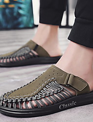 cheap -Men's Comfort Shoes Microfiber Summer Slippers & Flip-Flops Black / Khaki