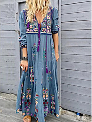 cheap -Women's Vacation Street chic Maxi Loose Shift Dress - Floral Print Deep V Summer Light Blue Red Brown S M L XL