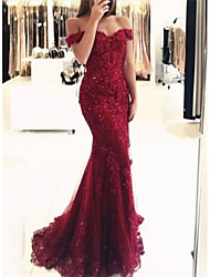 cheap -Mermaid / Trumpet Off Shoulder Sweep / Brush Train Lace Elegant Formal Evening Dress 2020 with Beading / Appliques / Sash / Ribbon