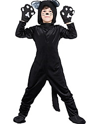 cheap -Cat Costume Kids Boys' Animal Halloween Performance Cosplay Costumes Theme Party Costumes Boys' Dance Costumes Velvet Splicing