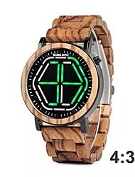 Недорогие -Муж. Нарядные часы Японский Японский кварц Стильные Дерево Коричневый 30 m Повседневные часы деревянный Цифровой Мода Дерево - Белый Зеленый Красный Два года Срок службы батареи