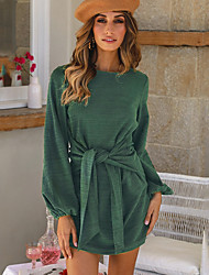 cheap -Women's Daily Wear Dress Basic T Shirt Dress - Solid Colored Bow Black Red Green S M L XL