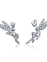 cheap -Romantic Genuine 925 Sterling Silver Cute Fairy Elevs Exquisite Stud Earrings for Women Luxury Jewelry Making BSE17046