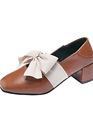cheap -Women's Heels Chunky Heel Square Toe PU Summer Black / Brown