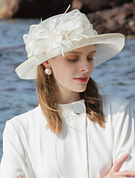 cheap -100% Linen Fascinators / Hats with Feather / Color Block 1pc Special Occasion / Party / Evening Headpiece