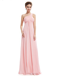 cheap -A-Line Elegant Prom Dress One Shoulder Sleeveless Floor Length Chiffon with Ruched 2020