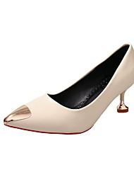cheap -Women's Heels Kitten Heel PU Casual Summer Black / Red / Beige / Daily