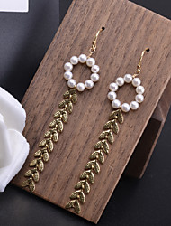 cheap -Women's Freshwater Pearl Hoop Earrings Spiga Floral Theme Luxury Dangling Rustic European Tropical Pearl 14K Gold Earrings Jewelry Gold For Party Daily Prom Holiday Festival 2pcs