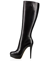 cheap -Women's Boots Knee High Boots Stiletto Heel Closed Toe Faux Leather Knee High Boots British / Minimalism Winter Black / Party & Evening
