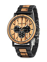 cheap -Men's Dress Watch Japanese Japanese Quartz Stylish Wood Red / Yellow 30 m Noctilucent Wooden Analog Fashion - Dark Red Black / Yellow Two Years Battery Life