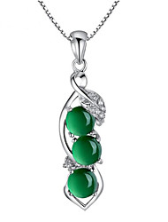 cheap -Women's Green Onyx Pendant Necklace Classic Pea Fashion Gold Plated Light Green 40+5 cm Necklace Jewelry 1pc For Gift Daily