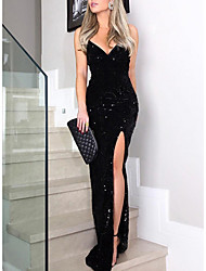 cheap -Women's 2020 Maxi Black Dress Elegant Sexy Spring & Summer Cocktail Party Prom Birthday Sheath Solid Colored Deep V Sequins Split Glitter S M