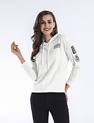 cheap -Women's Hoodie Hoodies Pullover Hoody Black White Artistic Style Fashion Hoodie Cute Letter Printed Sport Athleisure Hoodie Long Sleeve Warm Oversized Comfortable Plus Size Everyday Use Daily